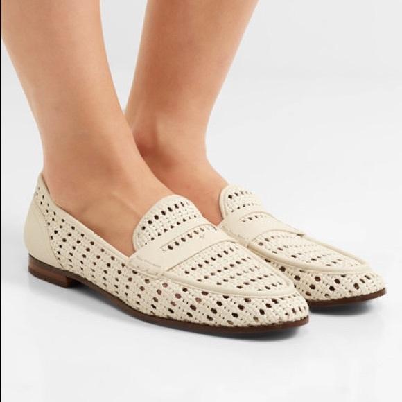 ef81e830423f9 Sam Edelman White leora Woven Faux Leather Loafers